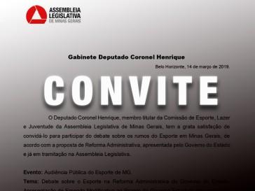 Convite para Audiência Pública do Esporte de MG