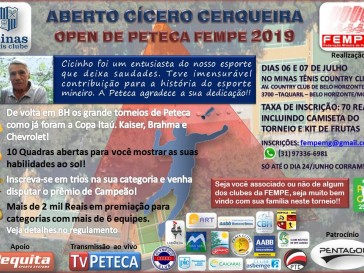 Inscrições para o Open Cícero Cerqueira vão até o dia 26 de Junho