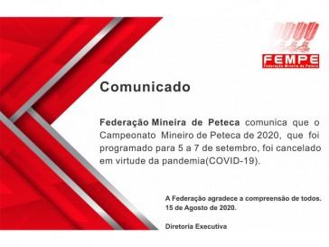 Cancelamento do Campeonato Mineiro de Peteca 2020