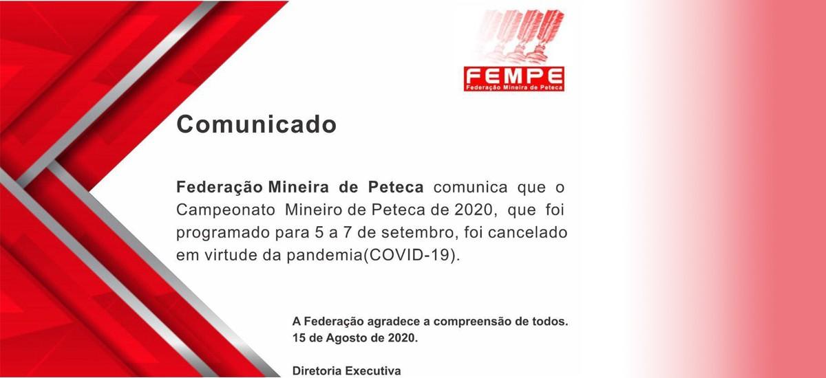 Cancelamento do Campeonato Mineiro de Peteca 2020 (medida de prevenção à COVID-19)